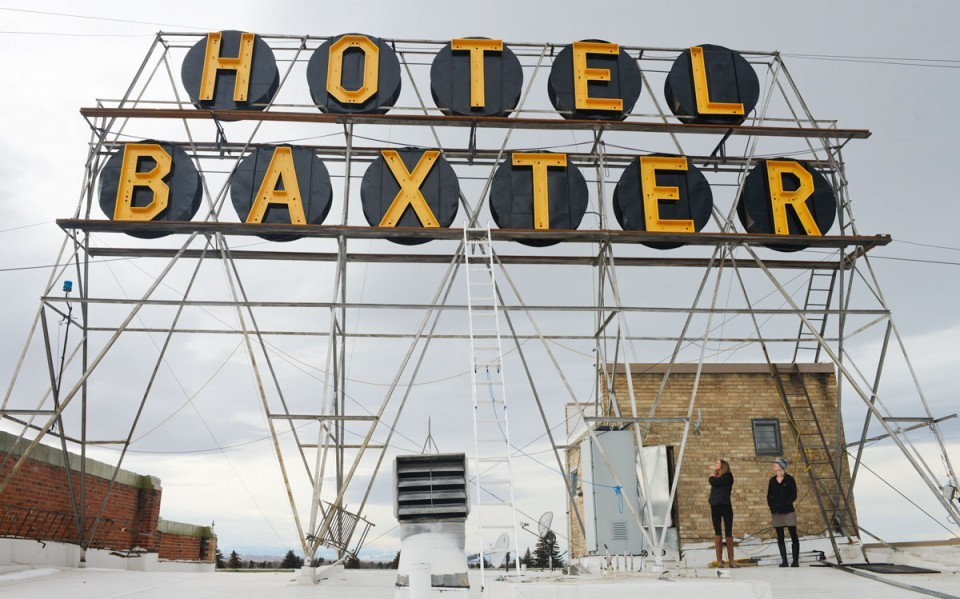 Mike Greener/Chronicle; The neon Hotel Baxter sign will be relit this winter. The historic sign was erected in 1929 when Bozeman's tallest building was built.